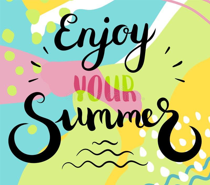 Disfrute de su texto del verano Caligrafía del cepillo Ilustración del vector stock de ilustración
