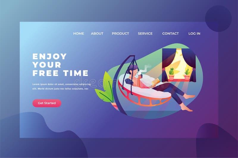 Disfrute de tiempo libre con lectura y café: Ilustración de plantilla de página de inicio de encabezado de página web stock de ilustración