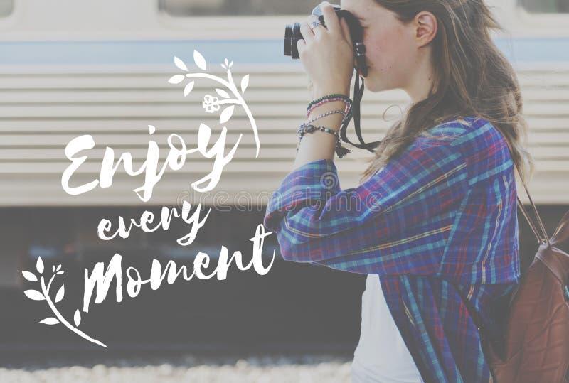 Disfrute del concepto de la diversión de la libertad de la forma de vida de la felicidad imagen de archivo