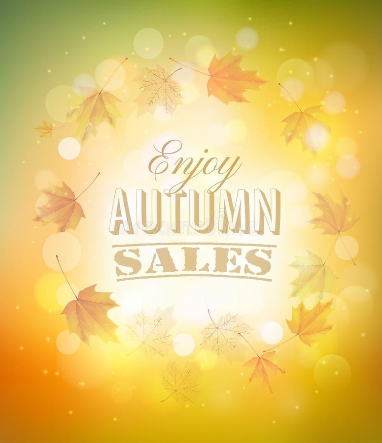 Disfrute del fondo de Autumn Sales con las hojas de otoño stock de ilustración