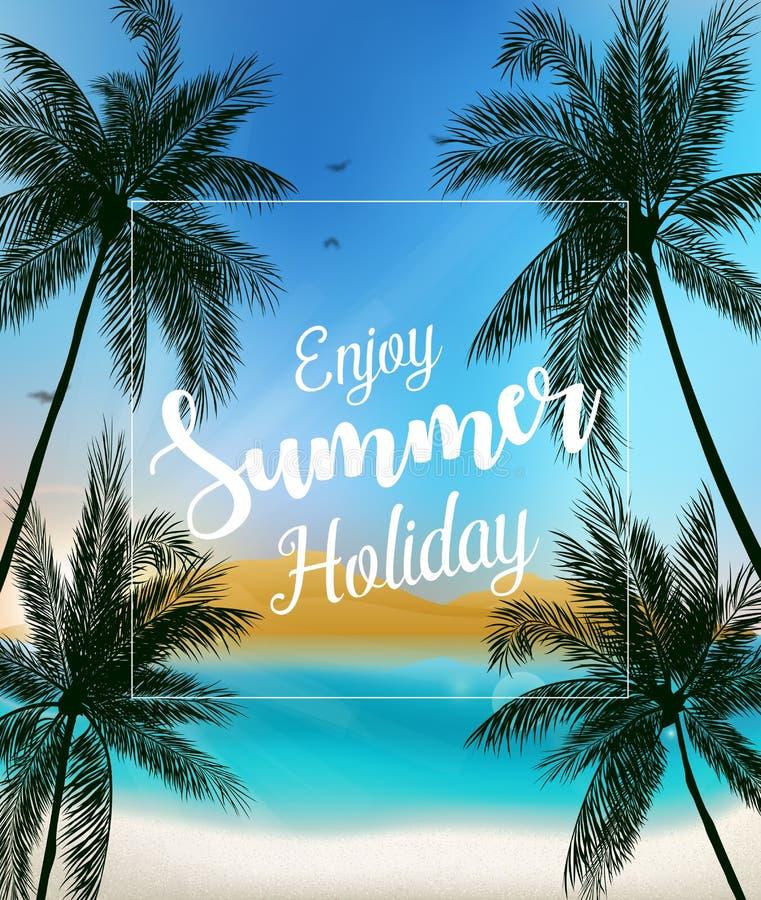 Disfrute del fondo de las vacaciones de verano ilustración del vector