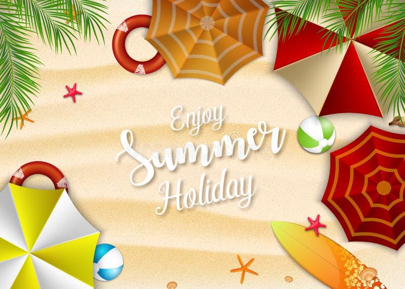 Disfrute del fondo de las vacaciones de verano Vista superior de muchos paraguas, de la tabla hawaiana, de la boya, de estrellas  stock de ilustración