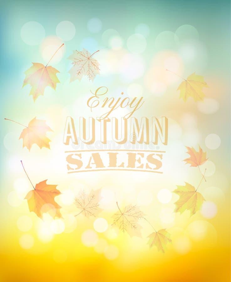 Disfrute del fondo de las ventas del otoño con las hojas coloridas ilustración del vector