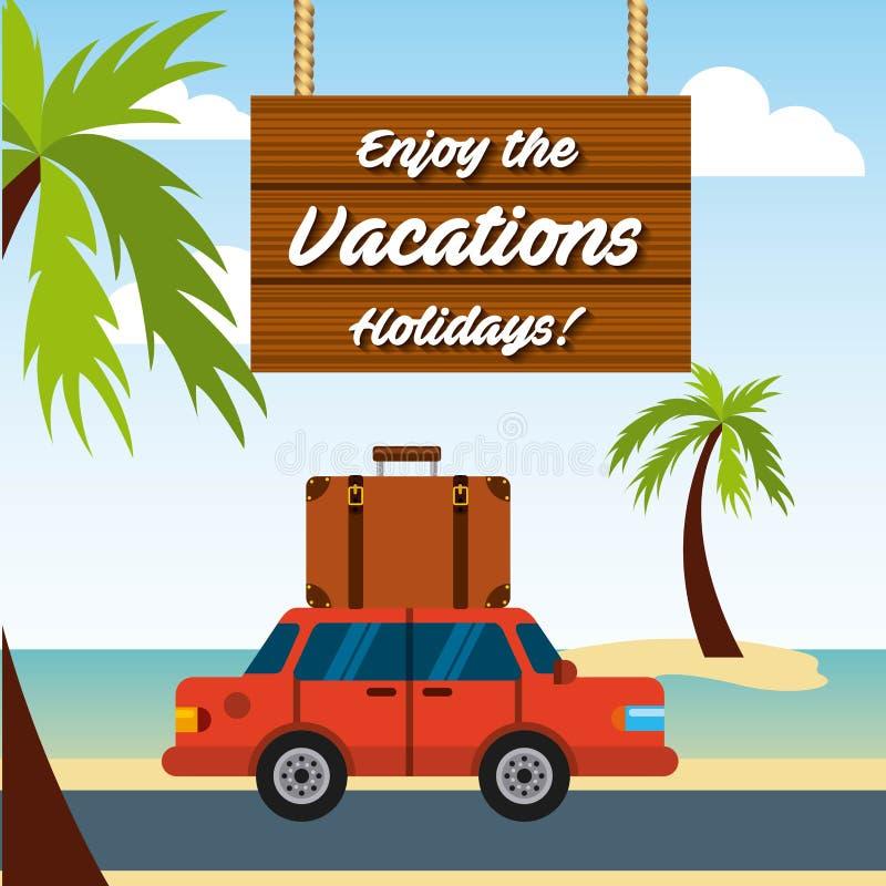 Disfrute del icono aislado viaje de las vacaciones stock de ilustración