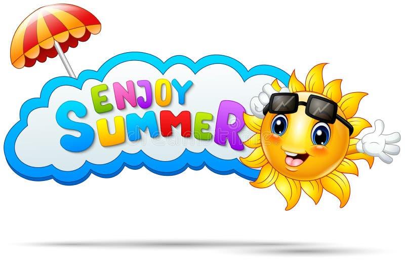 Disfrute del verano con la sonrisa del sol y un paraguas ilustración del vector