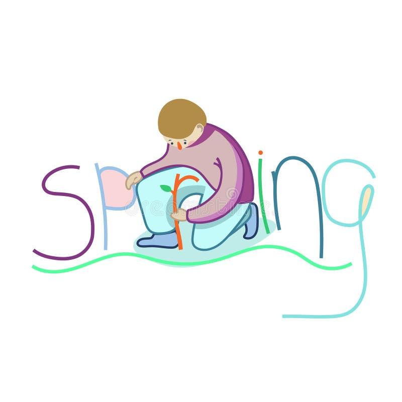 Disfrute en la primavera Ejemplo coloreado libre illustration