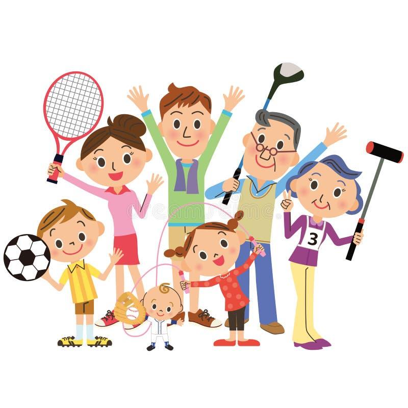 Disfruto de deportes en familias stock de ilustración