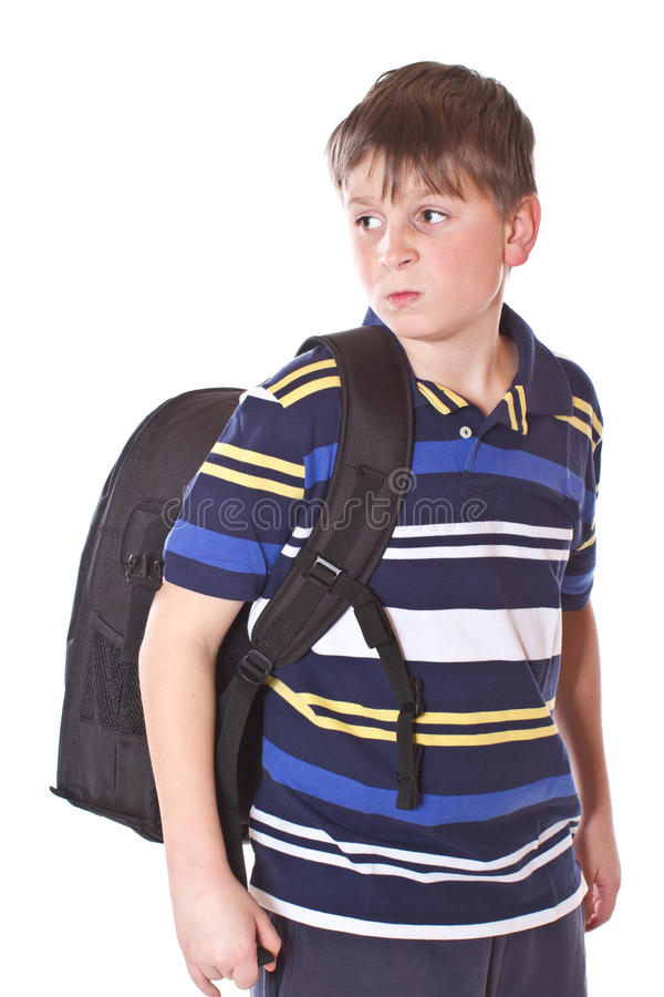 Download Disgruntled Student With A School Backpack Stock Image - Image: 28935671