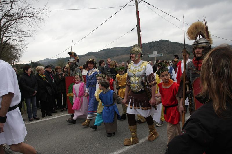 Children procession during festival in the Aude stock photos