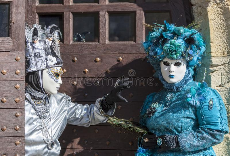 Disguised Couple - Annecy Venetian Carnival 2014 royalty free stock photography