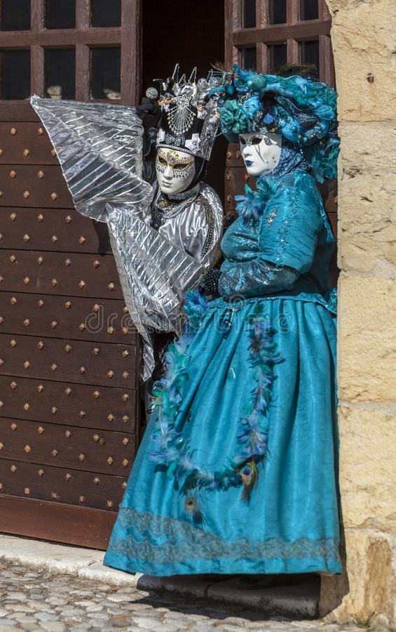 Disguised Couple - Annecy Venetian Carnival 2014 stock images