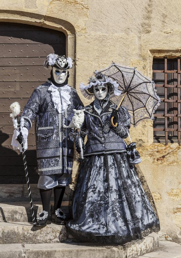 Disguised Couple - Annecy Venetian Carnival 2014 royalty free stock photo