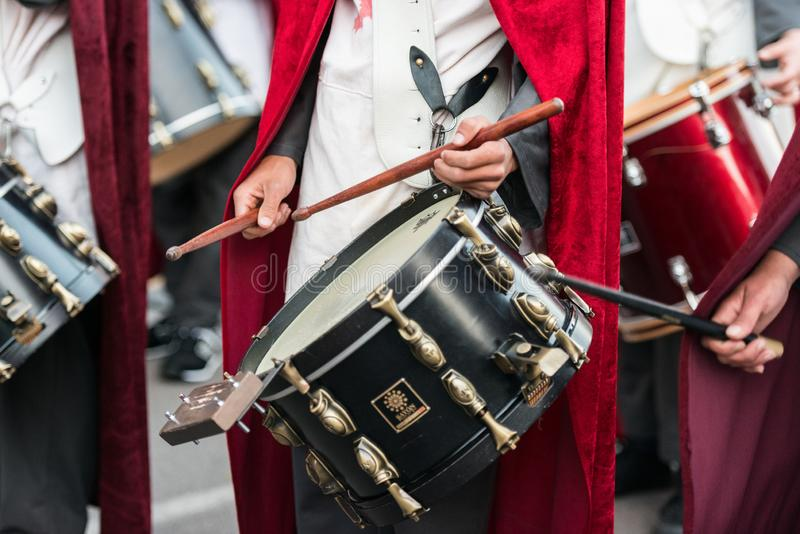 Disguised musicians during the celebration of the feast of Saint George and the dragon stock photography