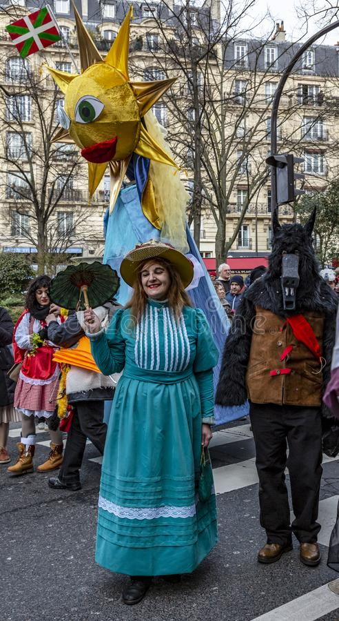 Disguised People - Carnaval de Paris 2018 royalty free stock photography