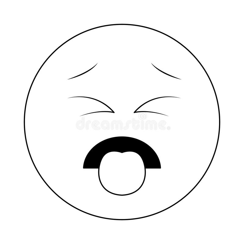 Disgust chat emoticon in black and white. Disgust chat emoticon isolated vector illustration graphic design stock illustration