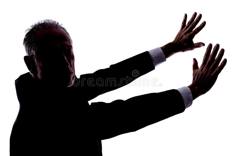 Disgust concept. Silhouette of a man expressing disgust royalty free stock photo