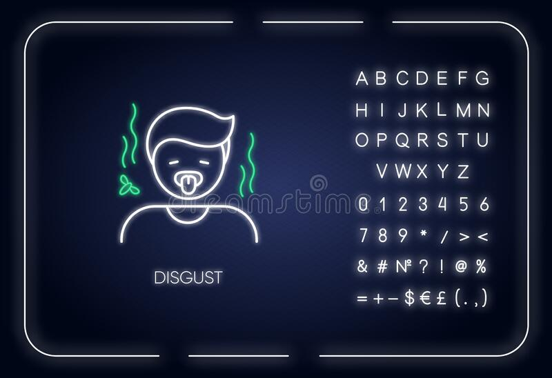 Disgust neon light icon. Outer glowing effect. Feeling of revulsion sign with alphabet, numbers and symbols. Emotional reaction. Disgusted person with yuck royalty free illustration