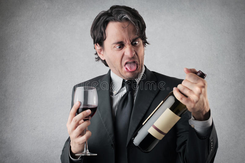 Download Disgusted Businessman With A Glass Of Wine Stock Image - Image of concern, preoccupation: 39504803