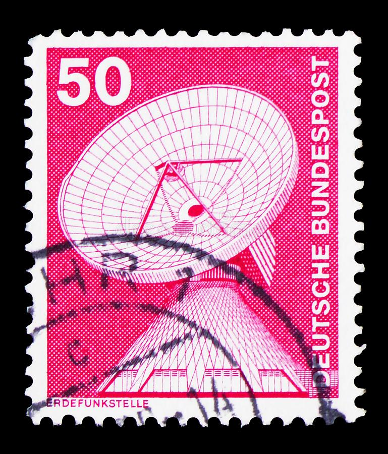 Dish Aerial, Raisting earth station, Industry and Technology Definitives 1975-1982 serie, circa 1975. MOSCOW, RUSSIA - FEBRUARY 9, 2019: A stamp printed in stock photo