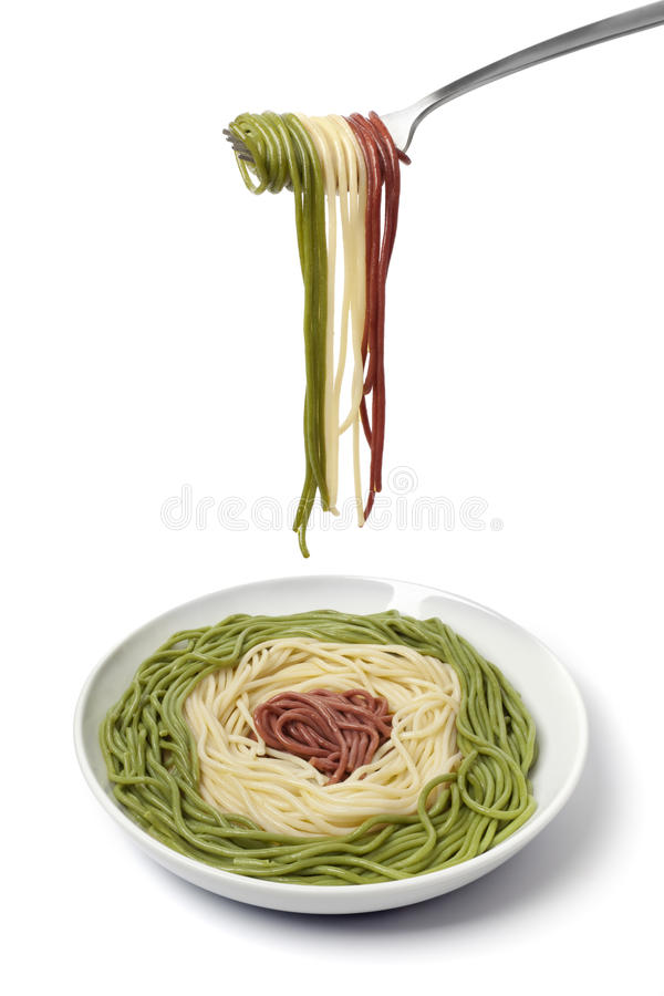 Free Dish And Fork With Cooked Spaghetti Tricolore Stock Photography - 13483712