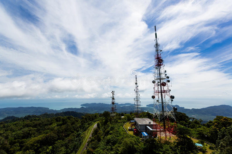 Dish antenna. On the top of the mountain,Langkawi Malaysia royalty free stock photo