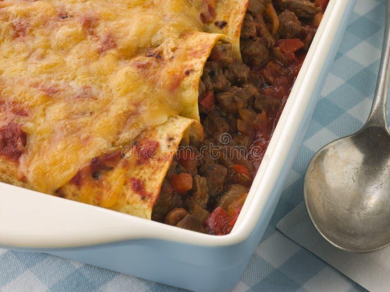 Dish of Beef Enchiladas stock photos