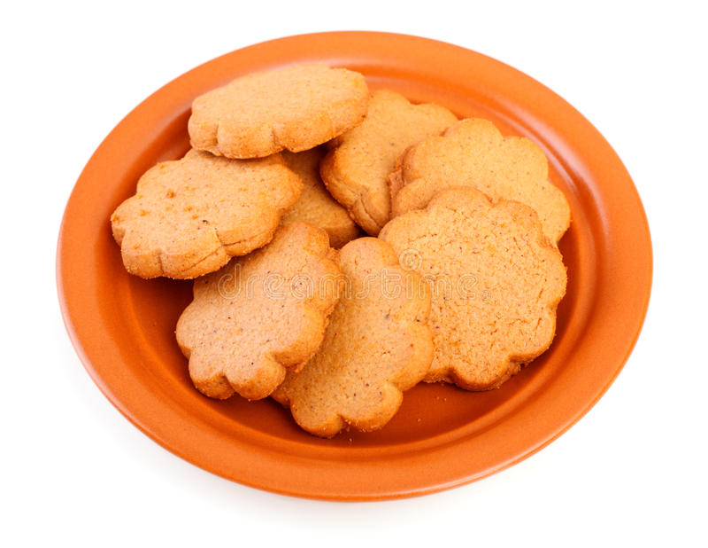 Dish of cinnamon cookies stock photos