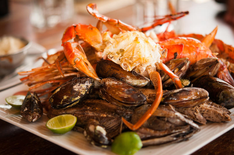 Download Dish with crab and mussels stock photo. Image of marine - 23555262