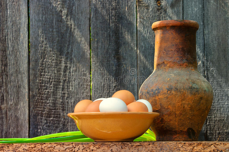 Dish with fresh eggs royalty free stock photo
