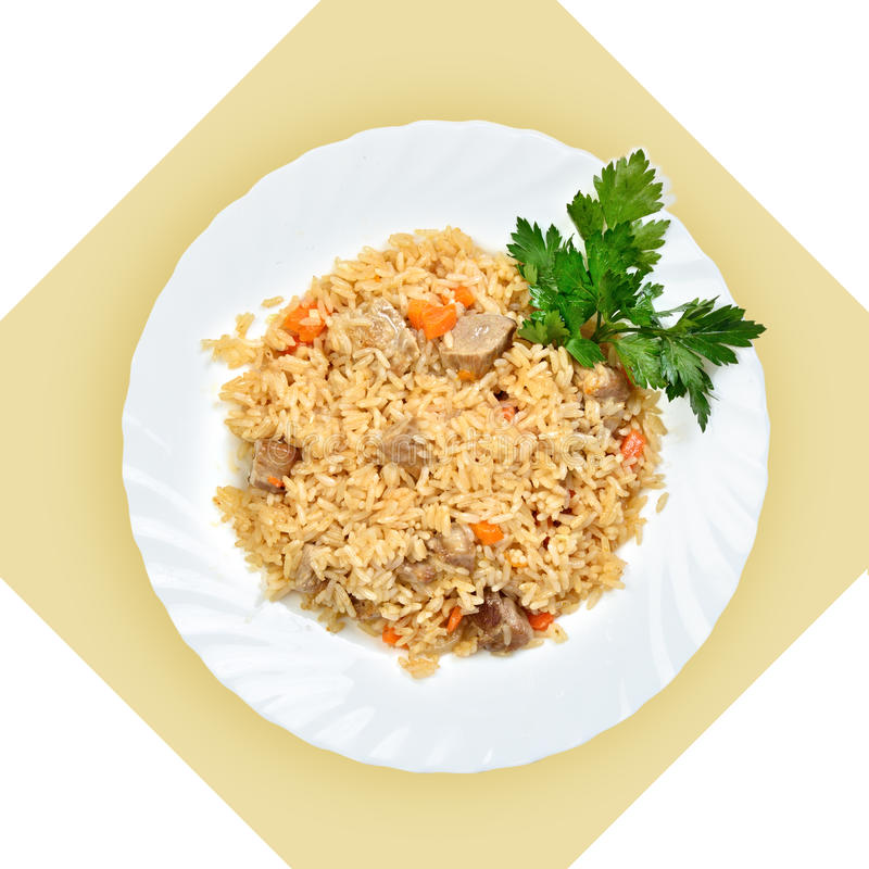 Dish of fried rice with meat(pilaf) stock photography