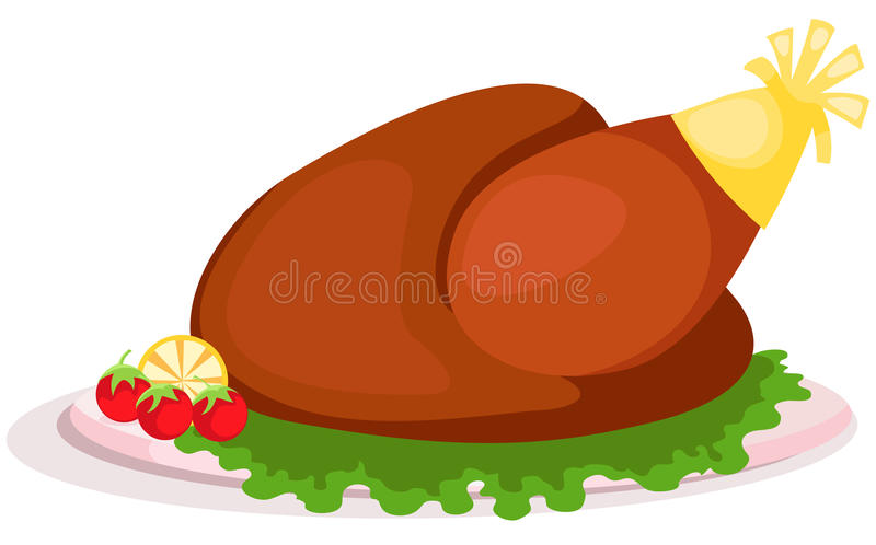 Dish of grill chicken royalty free illustration