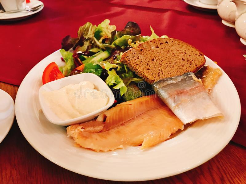 Dish of grilled Rainbow Trout Fillet. royalty free stock photos