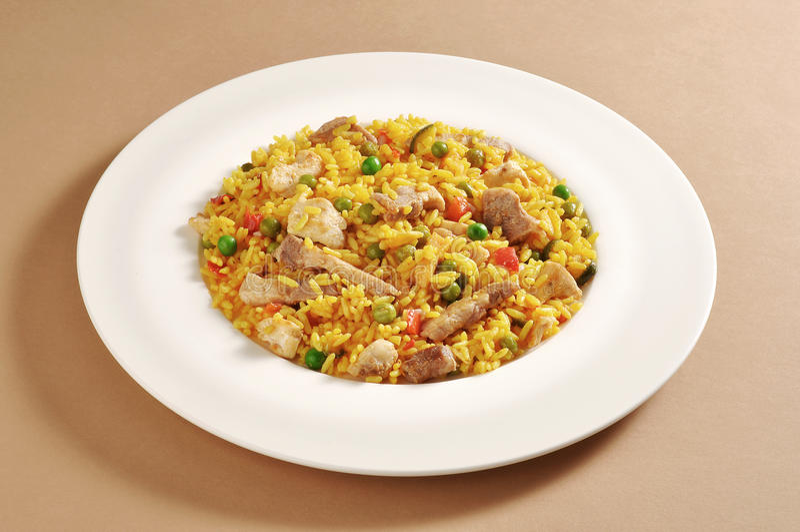 Dish of meat paella stock image