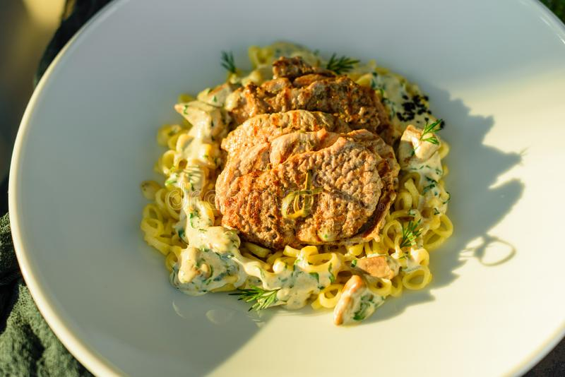 Dish with meat pieces, pasta, greens and sauce from a foie gras royalty free stock images