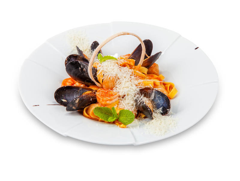 Dish from mussels and a scallop. royalty free stock image