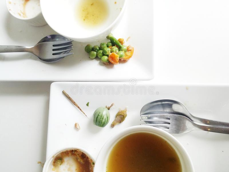Picky eater dishes. Dish of picky eaters who left soup and some vegetable which has bitter taste such as aubergine or eggplant. This restaurant serve food on stock photo