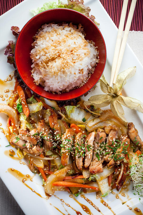 Dish of rice and meat. Dish of rice, vegetables and meat stock photo