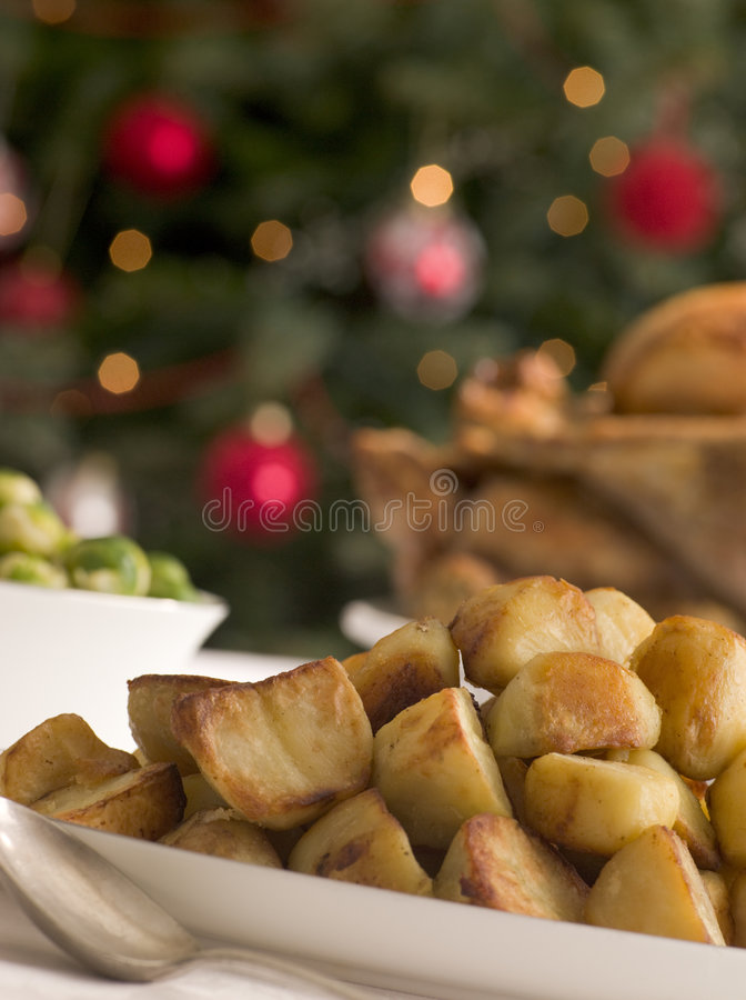 Dish of Roast Potatoes Roast Turkey and Brussel. Sprouts royalty free stock images