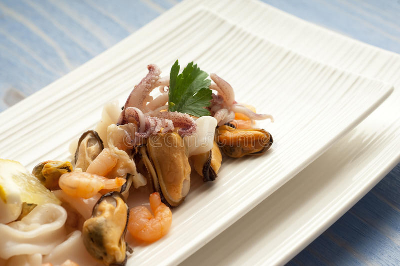 Dish with seafood salad stock images