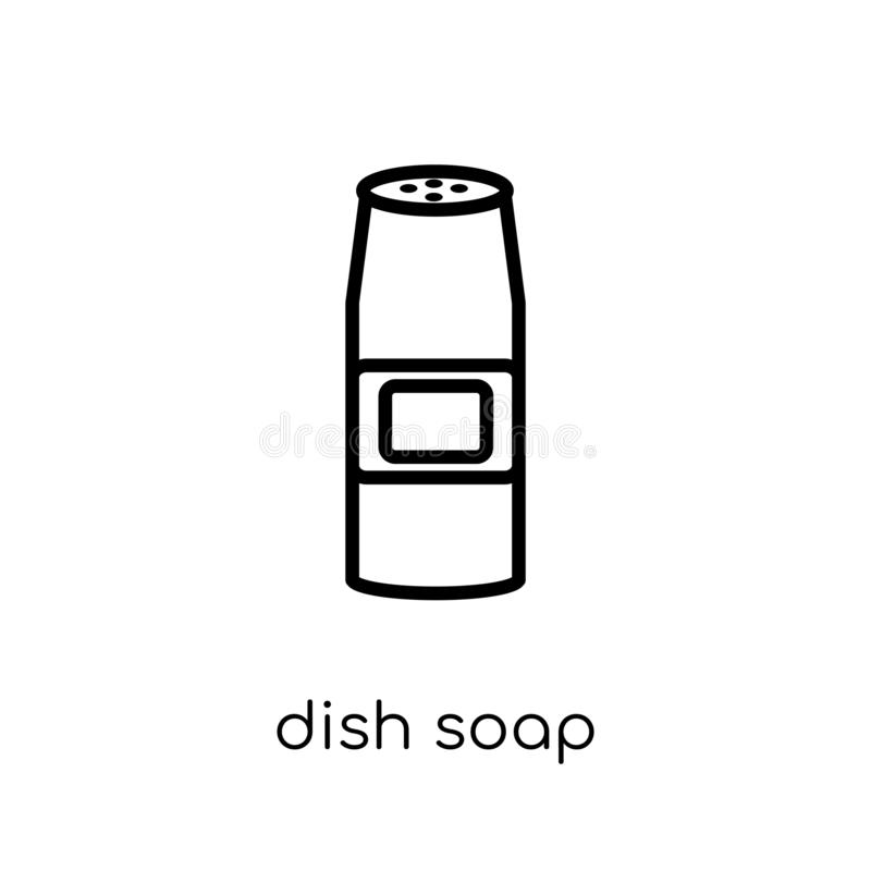 Dish soap icon. Trendy modern flat linear vector Dish soap icon royalty free illustration