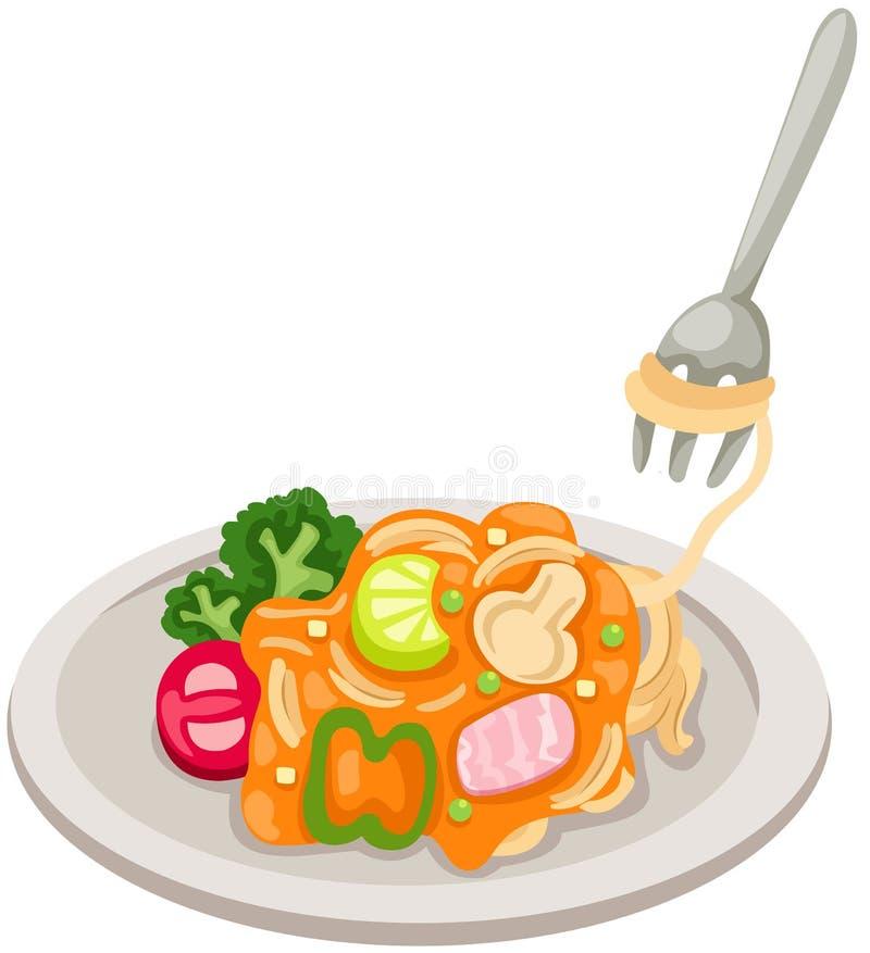 Dish of spaghetti vector illustration