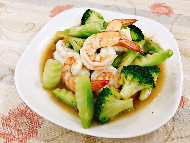 Stir fried broccoli with shrimp in Thailand. royalty free stock images