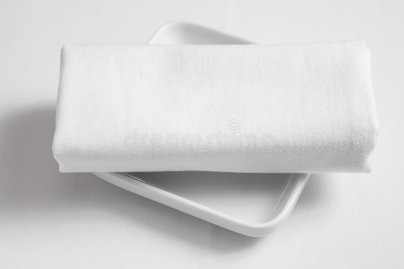 Dish And  Tablecloth Stock Image
