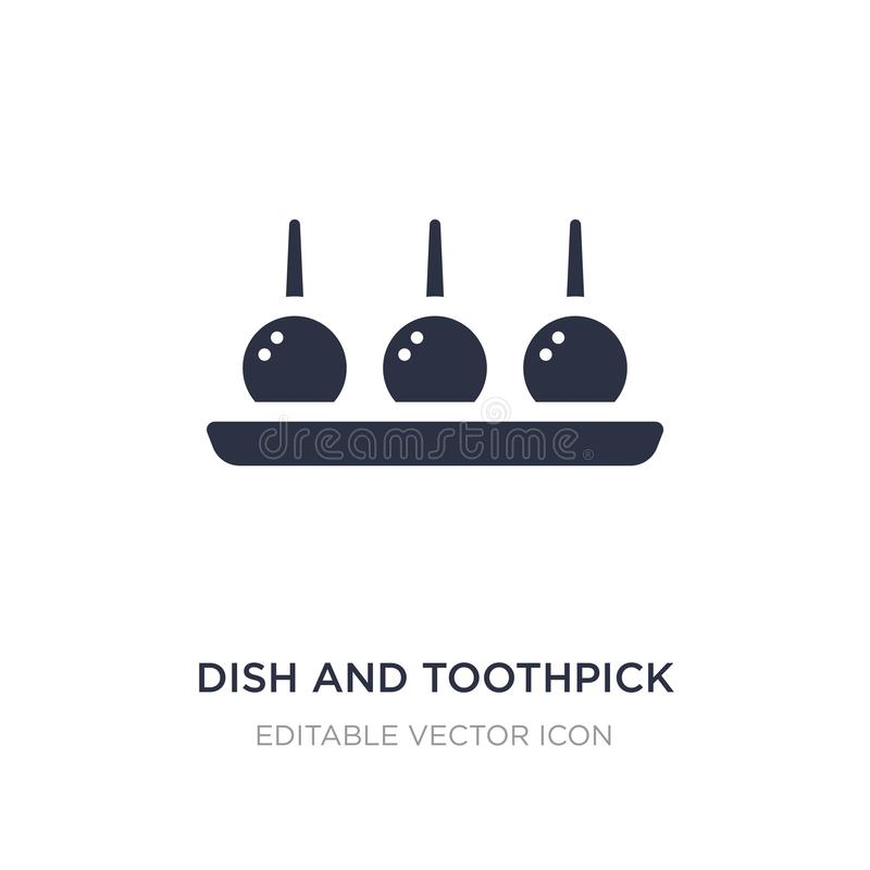dish and toothpick icon on white background. Simple element illustration from Food concept vector illustration