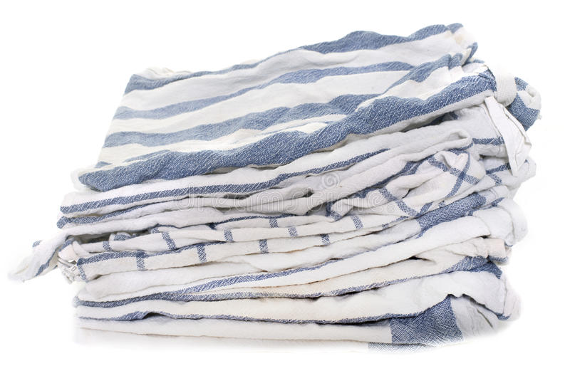 Dish towel in studio. Dish towel in front of white background stock photo