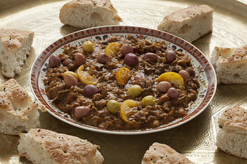 Dish with traditional moroccan douara. Dish with traditional moroccan kercha and bread for Eid al-Adha stock image