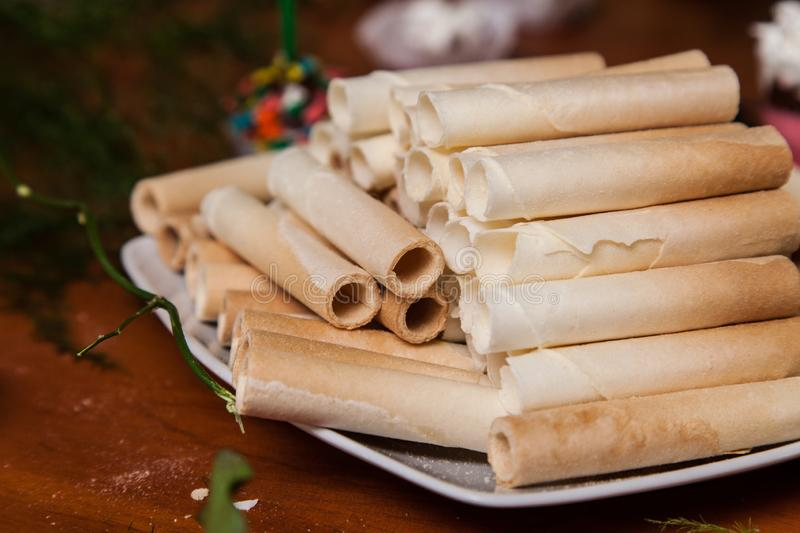 Dish with Wafer roll sticks stock photo