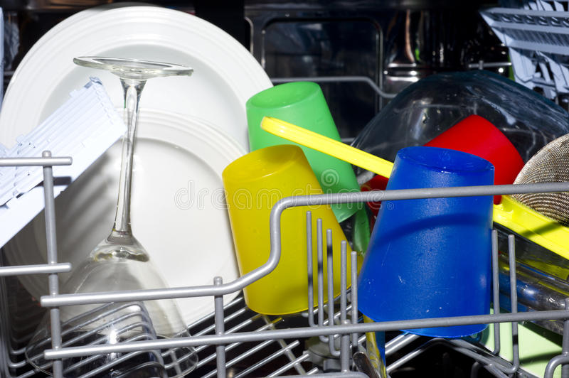 Dish wash interior. With plates and glasses royalty free stock photography