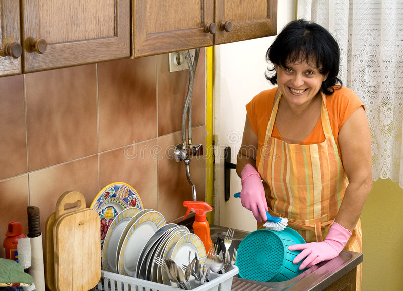 Download Dish washing stock image. Image of woman, furniture, sink - 6361509