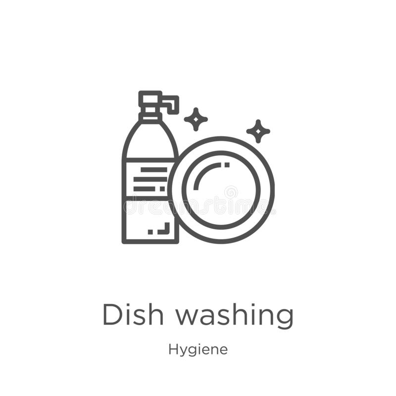 dish washing icon vector from hygiene collection. Thin line dish washing outline icon vector illustration. Outline, thin line dish stock illustration